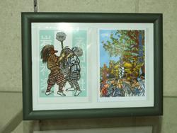 きり絵作家松本佳代の作品(春日神社神楽、神幸祭神輿)の写真